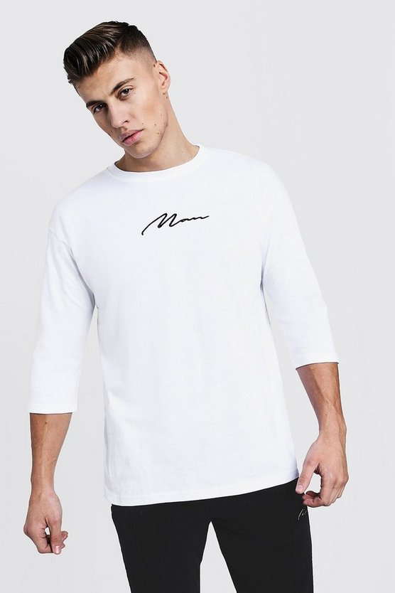 MAN Signature Loose Fit 3/4 Sleeve T-Shirt