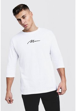 Mens White MAN Signature Loose Fit 3/4 Sleeve T-Shirt