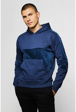 Mens Blue Over The Head Hoodie With Velour Panels