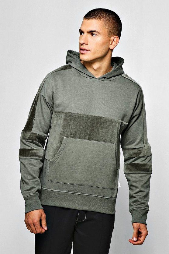 Over The Head Hoodie With Velour Panels