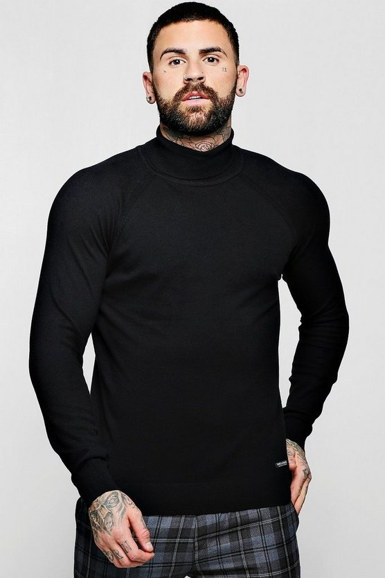Mens Black Muscle Fit Roll Neck Jumper