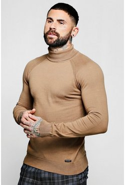 Mens Camel Muscle Fit Roll Neck Sweater