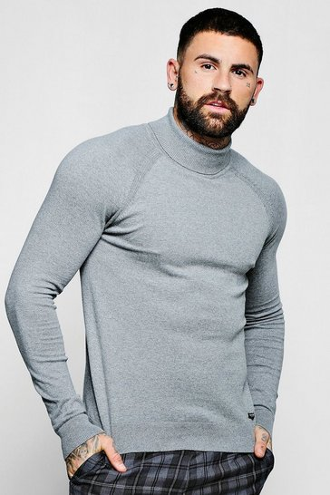 Mens Grey Muscle Fit Roll Neck Jumper