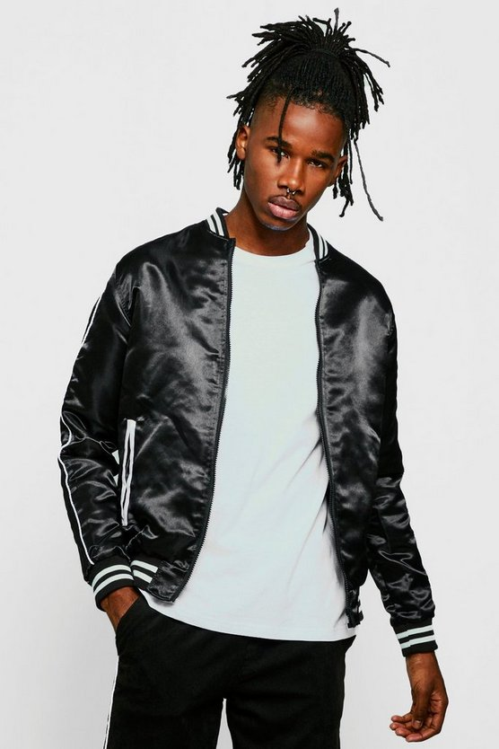 Mens Black Contrast Piping Bomber Jacket