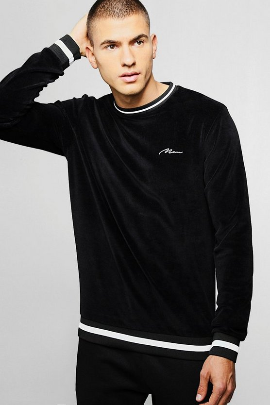 MAN Signature Velour Sweater With Contrast Rib