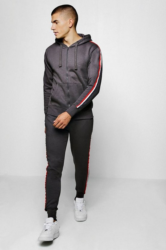 Zip Through Hooded Tracksuit With Side Tape