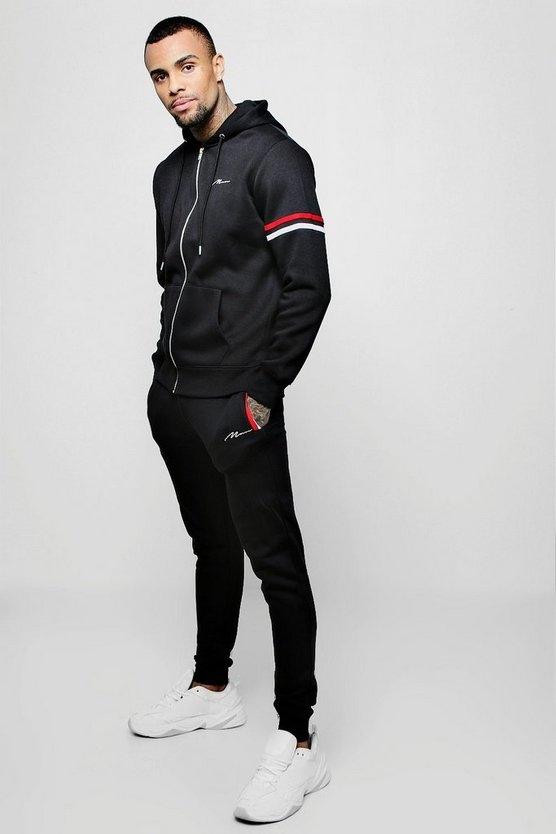 MAN Signature Stripe Detail Hooded Tracksuit