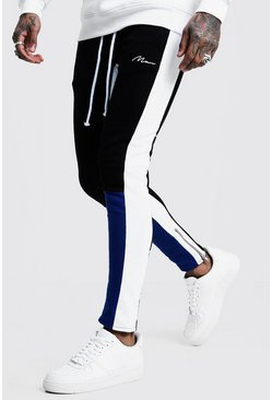 Mens Blue Skinny Fit MAN Colour Block Joggers