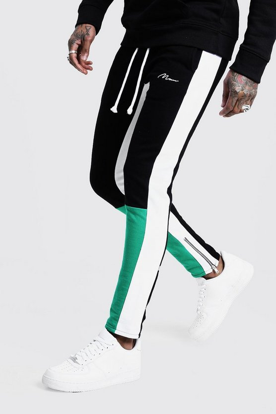 Mens Green Skinny Fit MAN Colour Block Joggers
