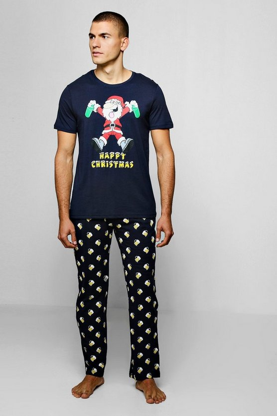 Beer Print Christmas Pyjama Set