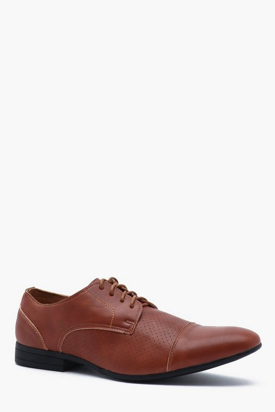 Faux Leather Pinpunch Smart Shoe