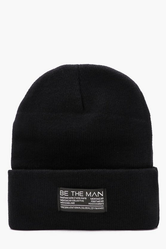 Large Woven Tab Beanie With Turn Up