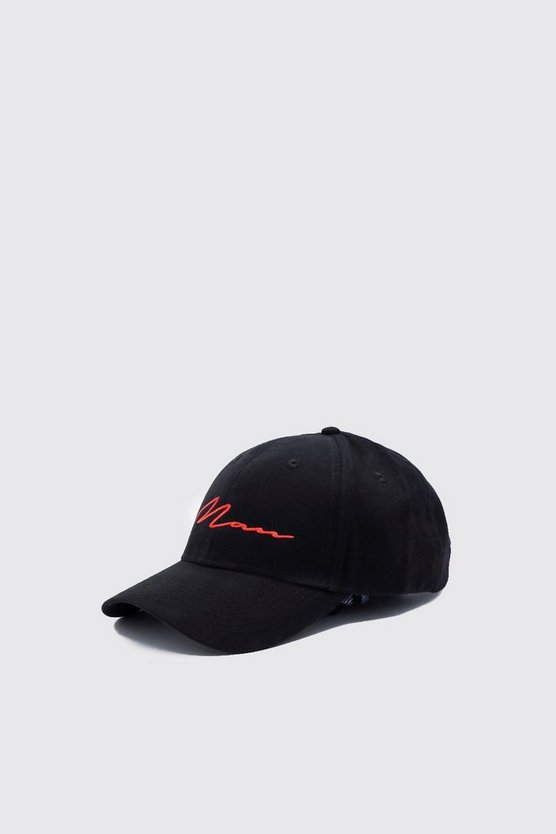 Black Red MAN Script Embroidered Cap