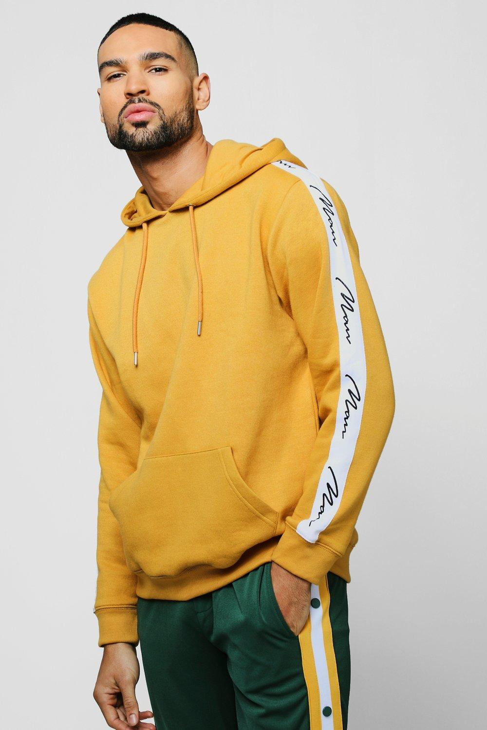 Mustard Hoodie With MAN Signature Tape