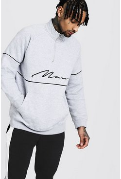 Mens Grey MAN Signature Track Top With Contrast Piping