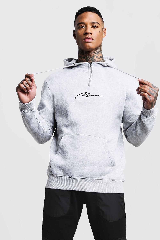 MAN Signature Half Zip Fleece Hoodie