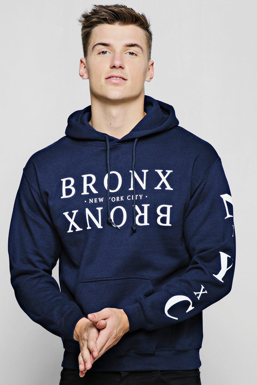 Bronx Chest And Sleeve Print Hoodie