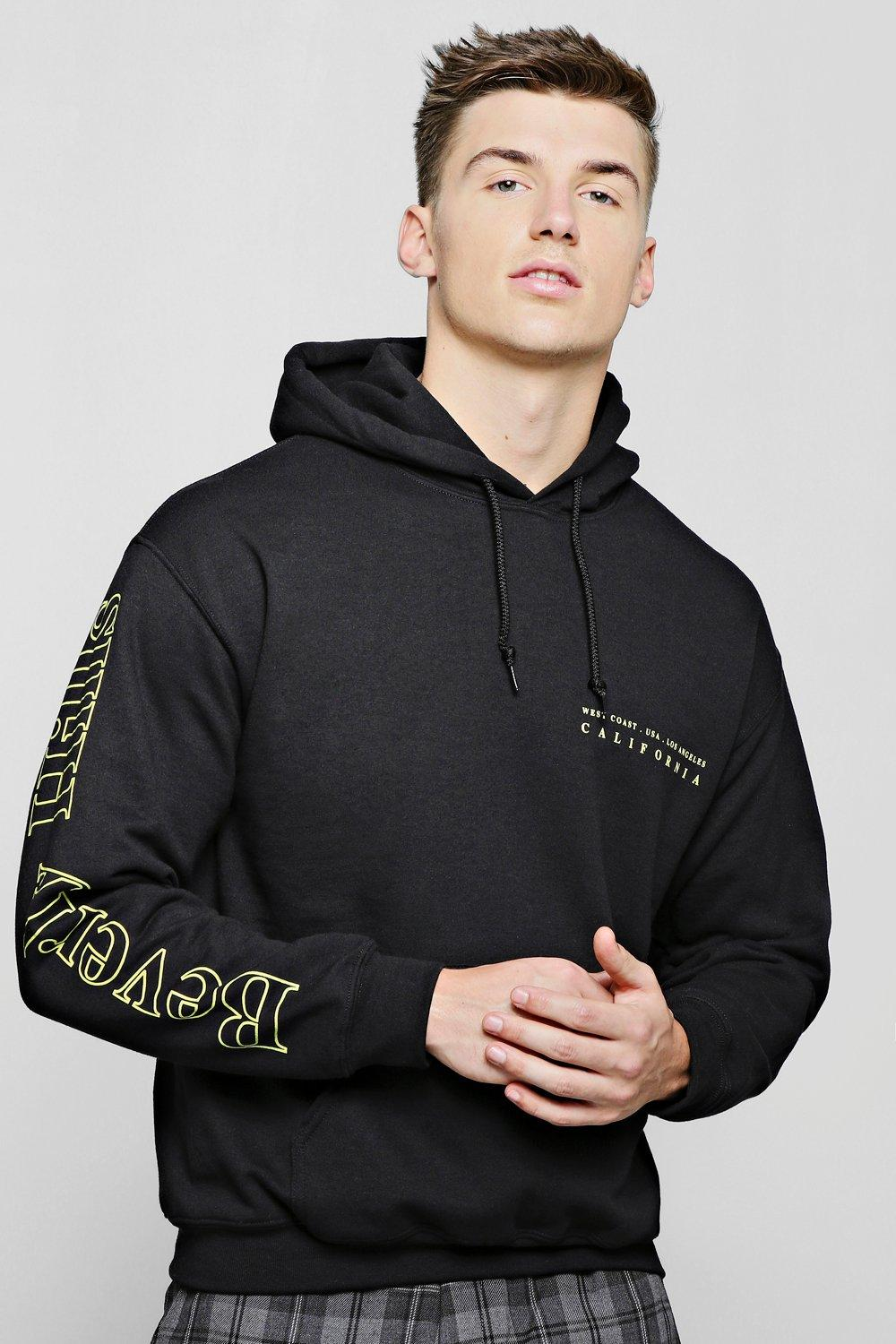 Beverly Hills Front And Sleeve Print Hoodie