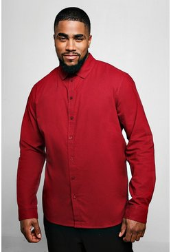 Mens Burgundy Big And Tall Long Sleeve Oxford Shirt