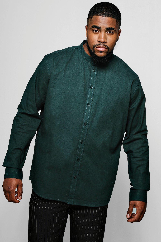 Big And Tall Grandad Collar Oxford Shirt