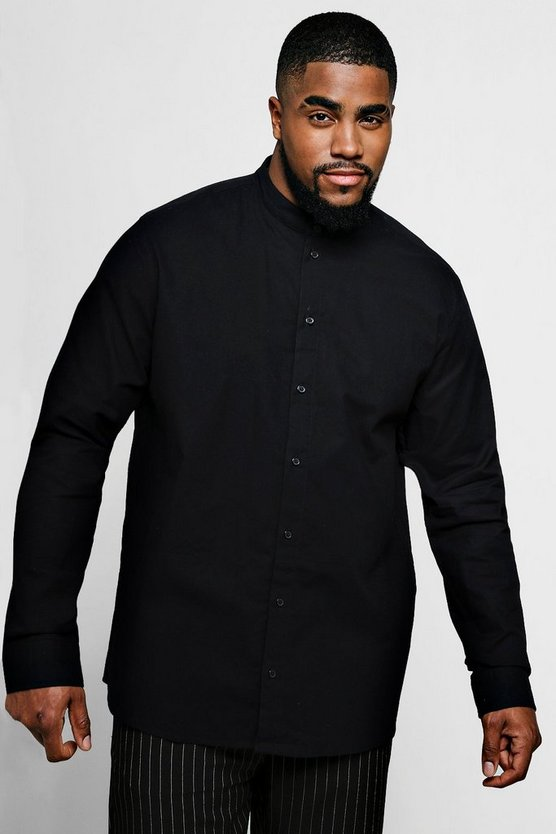 Big And Tall Grandad Collar Oxford Shirt