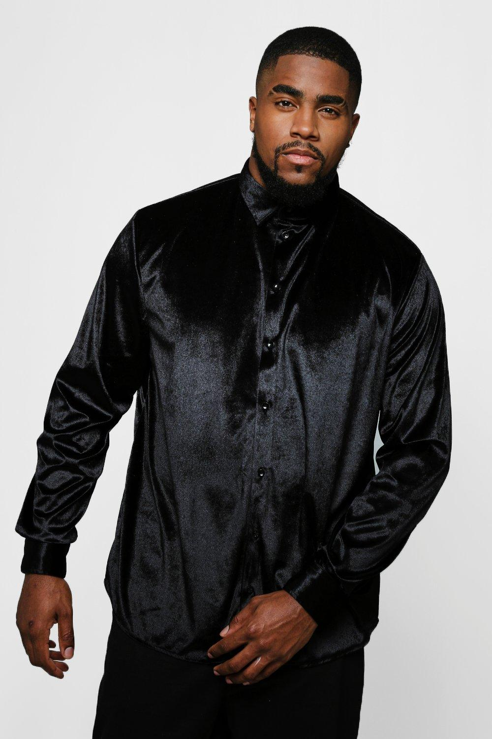 Big And Tall Long Sleeve Velour Shirt