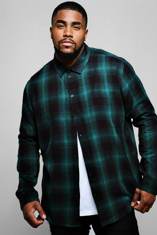 Big And Tall Long Sleeve Flannel Check Shirt