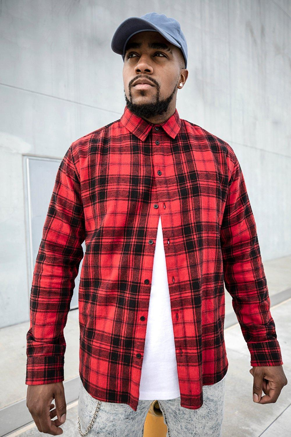 Big And Tall Long Sleeve Flannel Check Shirt