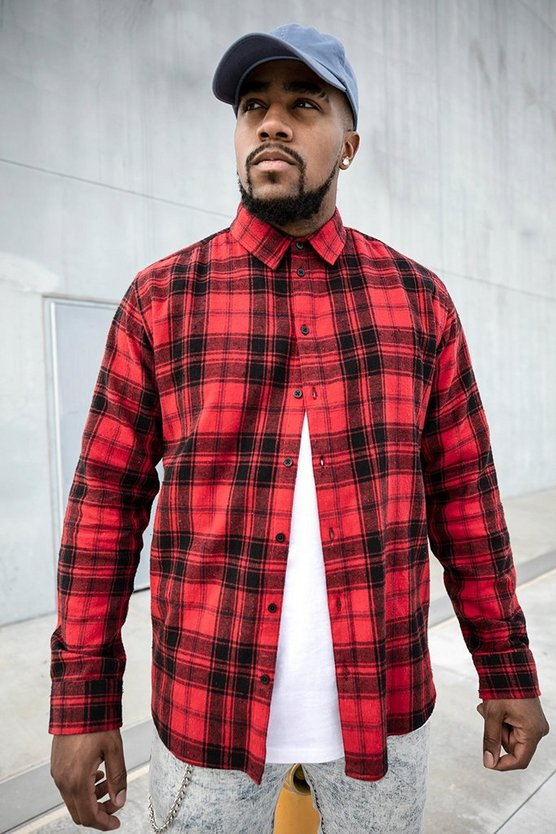 Mens Red Big And Tall Long Sleeve Flannel Check Shirt