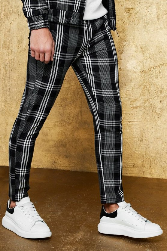 Exaggerated Check Cropped Smart Jogger