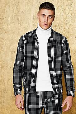 Exaggerated Check Coach Jacket