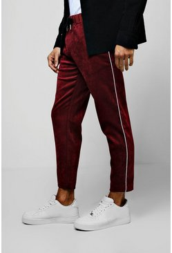 Mens Burgundy Cord Jogger Style Pants With Side Piping