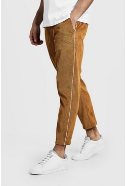 Mens Camel Cord Jogger Style Pants With Side Piping