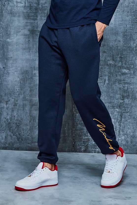 Mens Navy Disney Loose Fit Mickey Signature Joggers