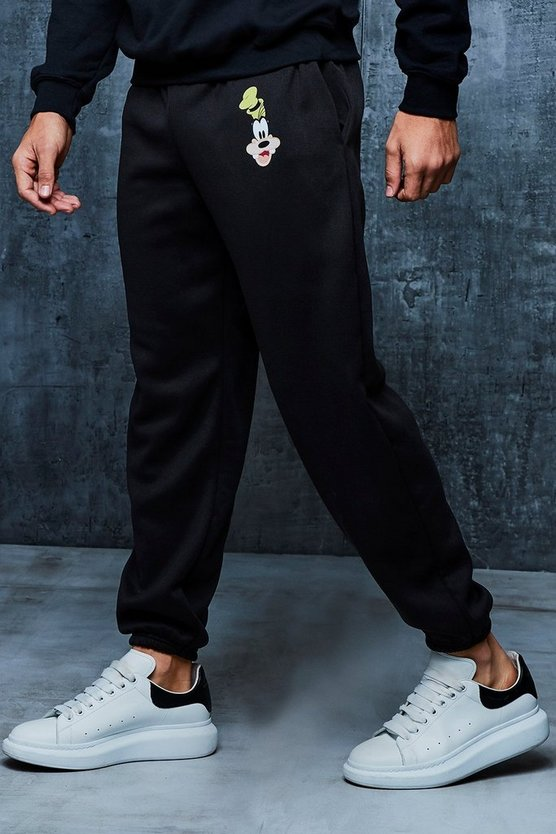Mens Black Disney Goofy Loose Fit Joggers