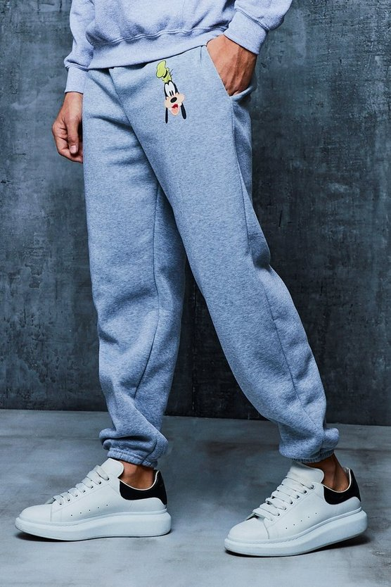 Mens Grey Disney Goofy Loose Fit Joggers