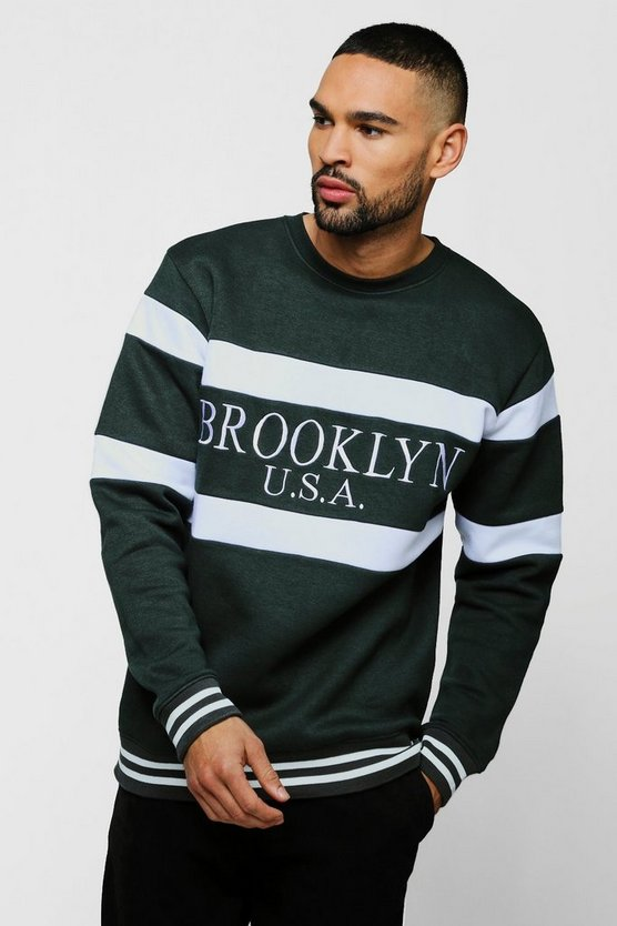 Mens Forest Brooklyn USA Embroidered Sweatshirt