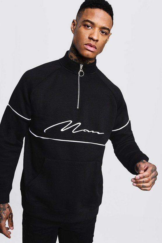 Mens Black MAN Signature Track Top With Contrast Piping