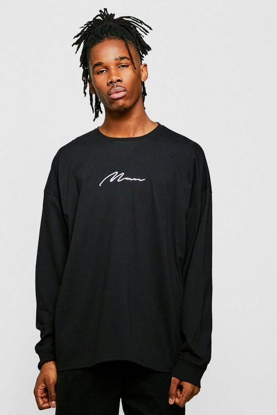 Oversized MAN Signature Long Sleeve Cuffed T-Shirt