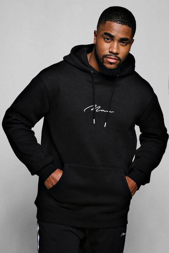 Mens Black Big & Tall MAN Signature Embroidered Hoodie