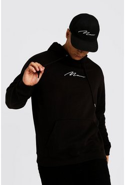 Sudadera con capucha con bordados de marca MAN Big And Tall, Black, Hombre