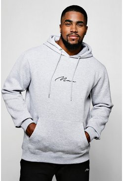 Mens Grey Big and Tall MAN Script Hoodie