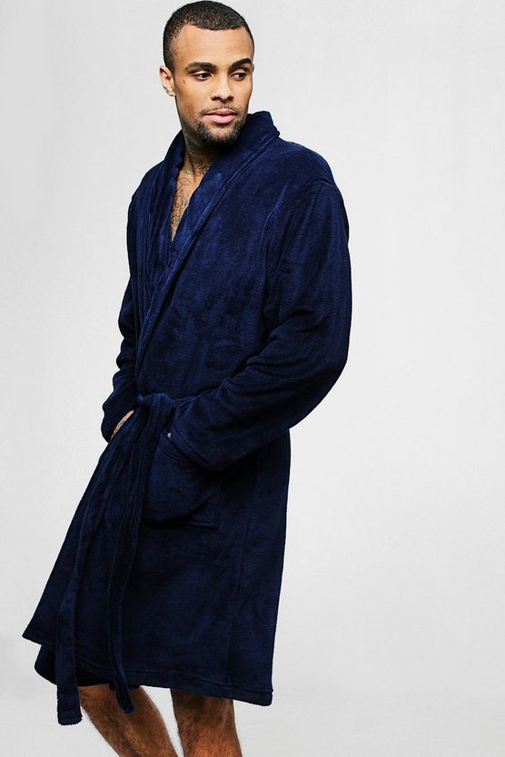 Collared Fleece Robe With Pockets
