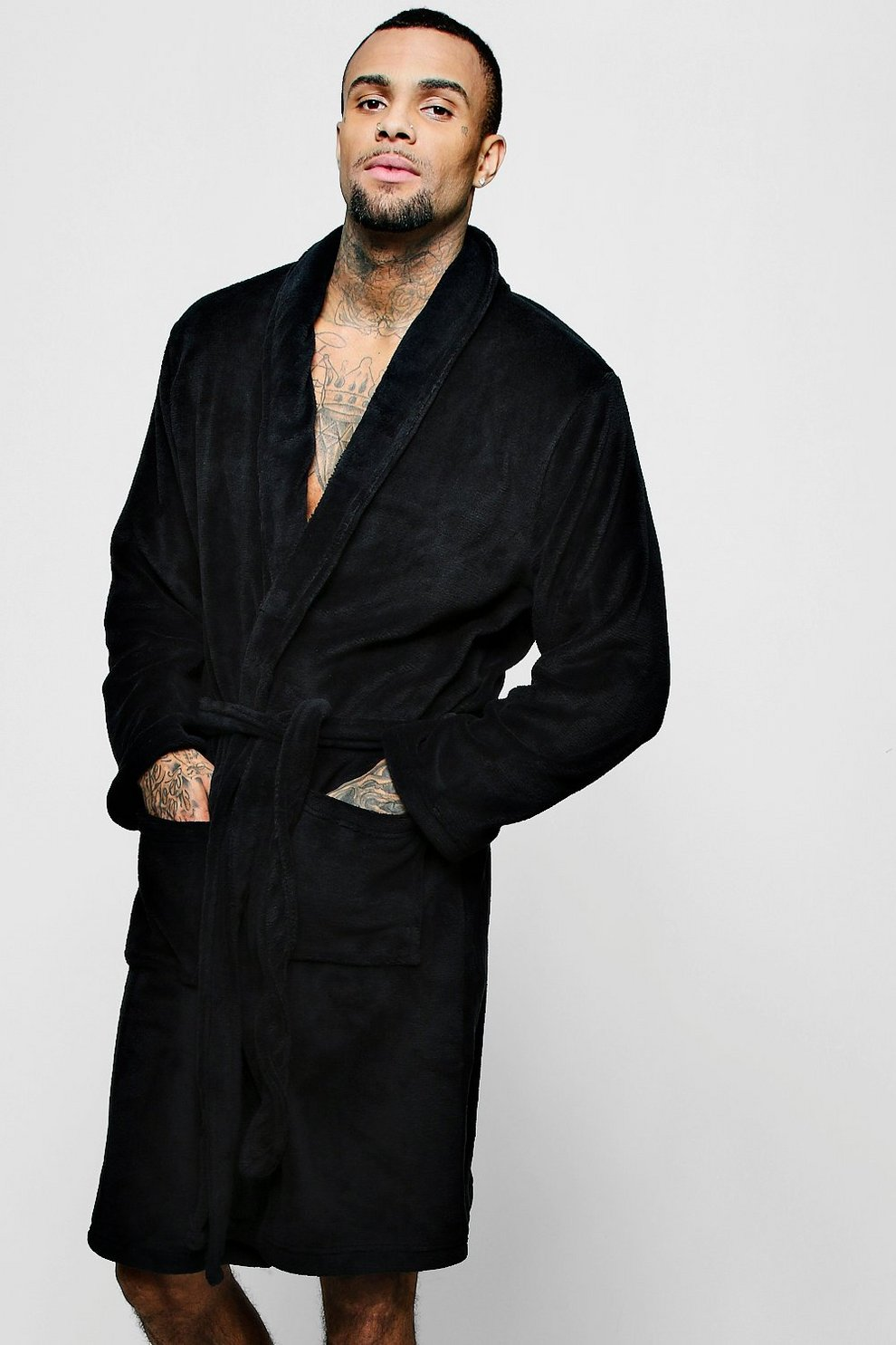 66bf0c66cc Collared Fleece Robe With Pockets