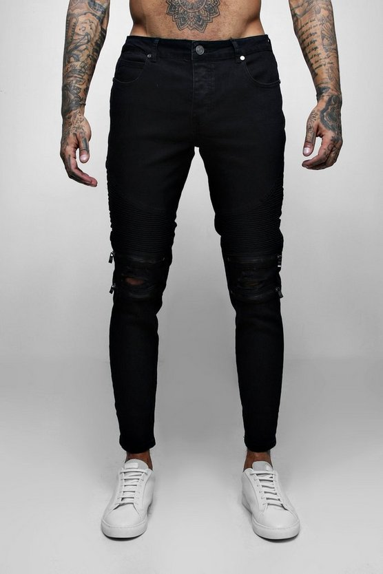 Skinny Fit Biker Jean With Zip Detail Washed Black
