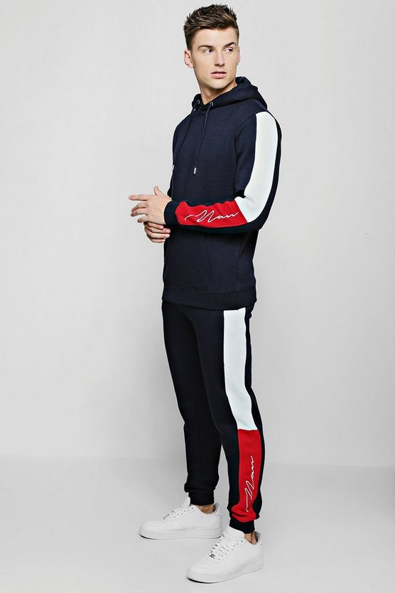 Mens Navy MAN Signature Panel Colour Block Hooded Tracksuit