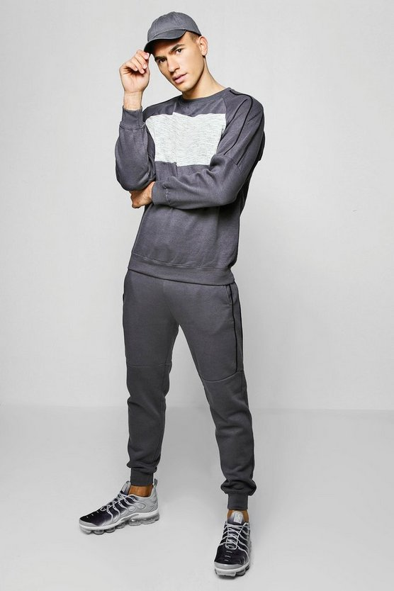 Contrast Panel Sweater Tracksuit With Piping
