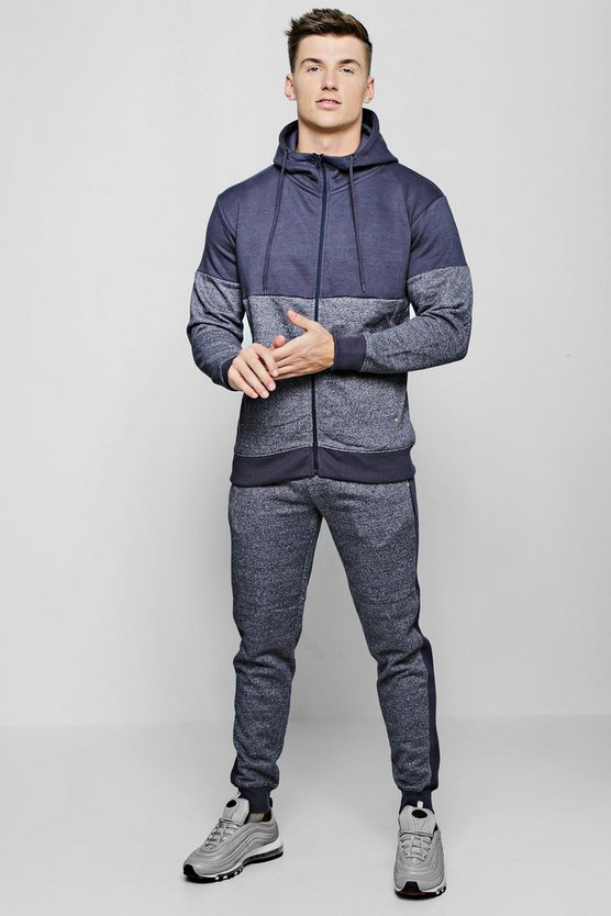 Space Dye Panelled Zip Hooded Tracksuit