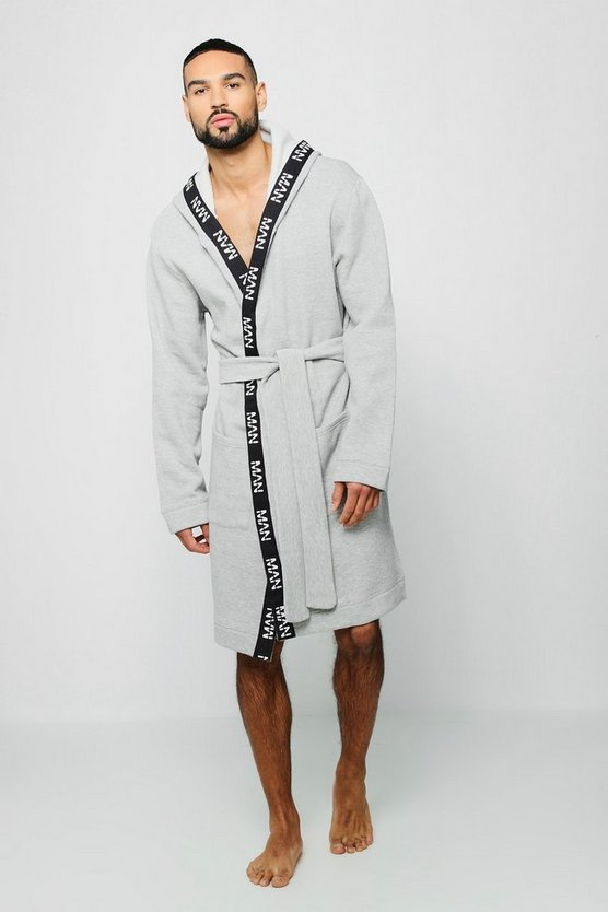 Mens Grey Jersey Fleece Hooded Robe With MAN Taping