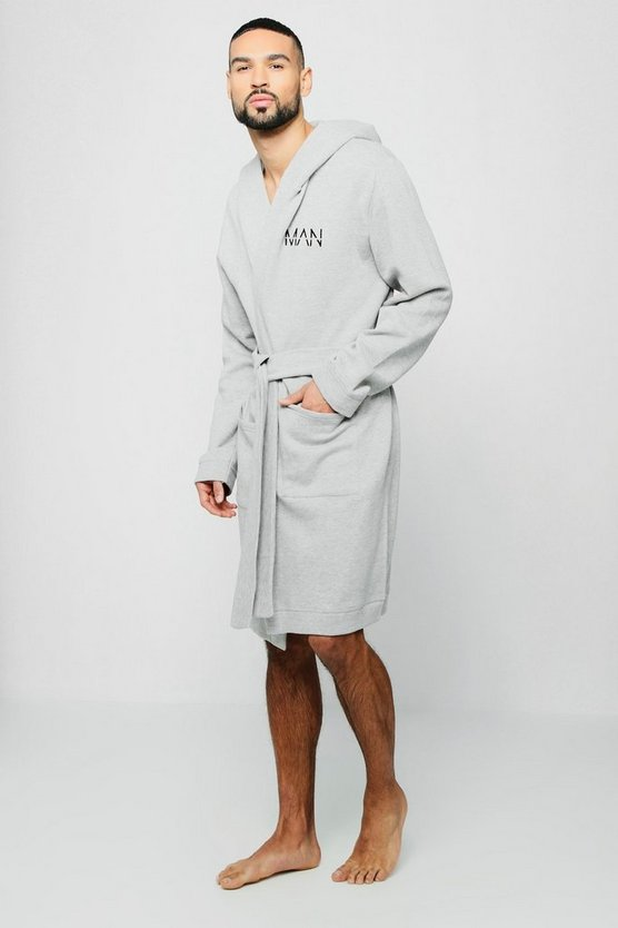 Jersey Fleece Hooded Robe With MAN Embroidery